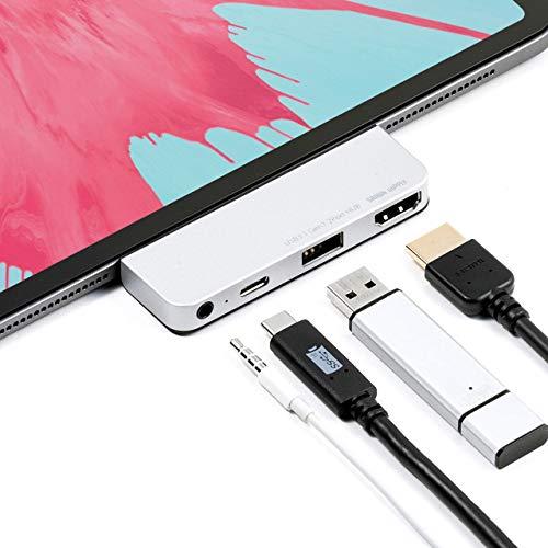 サンワダイレクト iPad Pro専用 USB C ハブ 4in1 PD対応 HDMI 4K/30Hz USB3.0 3.5mm アルミ グレー 400-HUBIP087