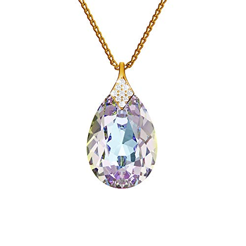 24K Gold Plated 925 Sterling Silver Necklace with Crystals from Swarovski - Pear - Vitrail Light - Necklace with Pendant for Women - Beautiful Jewellery for Women with Gift Box