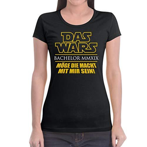 Uni - Das Wars - Bachelor - Geschenk zum Abschluss Damen T-Shirt Slim Fit Small Schwarz