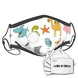 Best& Big Set Máscara de perro de vaca para hombre y mujer protectora de 5 capas de filtros de carbón activado máscara de polvo con una válvula de máscara al aire libre