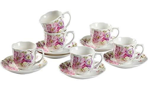 GuangYang Espressotassen Set aus Porzellan 6 Kaffeetassen mit 6 Untertasse Rosa Blumenmuster 2.8oz/80ml