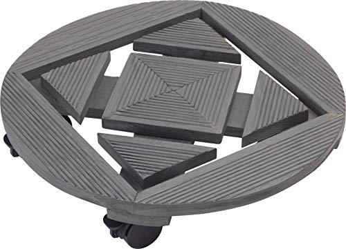 Metafranc Pflanzenroller Ø 350 mm - 60 kg Tragkraft  - Geriffelte Kiefer-Platte - Anthrazit - PP-Rollen mit 2 Feststellern / Indoorroller / Blumenroller / Transporthilfe für Pflanzen / 825250