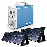 PowerOak Bluetti EB150 1500Wh Generador Solar Portátil con 2 Piezas Paneles Solares 120W, Generador Electrico con Salidas AC/DC/USB Power Station con Batería de Litio para Camping Autocaravan