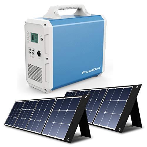PowerOak Bluetti EB240 2400Wh Generador Solar Portátil con 2 Piezas Paneles Solares 120W, Generador Electrico con Salidas AC/DC/USB Power Station con Batería de Litio para Camping Autocaravana