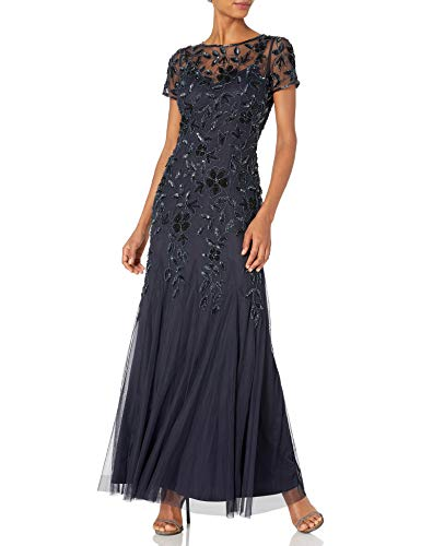 Adrianna Papell Women's Floral Beaded Godet Gown, Twilight, 4