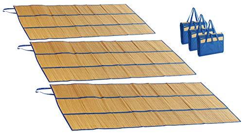 PEARL beach 3er-Set Faltbare Bast-Strandmatten mit Tragegriffen, 180 x 90 cm