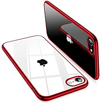 TORRAS Crystal Clear Compatible for iPhone SE 2020 Case & Compatible for iPhone 8 Case Soft Slim Thin Shockproof Designed for iPhone 7 Case 4.7 inch Red