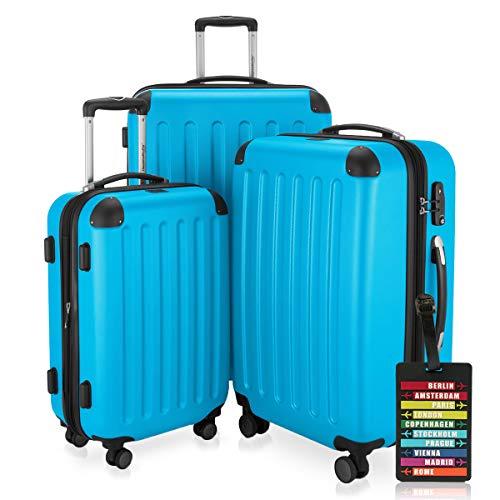 Hauptstadtkoffer - Spree - 3er-Koffer-Set Trolley-Set Rollkoffer Reisekoffer-Set Erweiterbar, TSA, 4 Rollen, (S, M & L), Cyan Blau inkl. Design Kofferanhänger