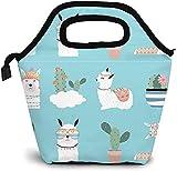KEROTA Linda caja de almuerzo de alpaca aislada, bolsa de almuerzo con caricaturas verde cacto de cacto verde, bolsa de aperitivos reutilizable
