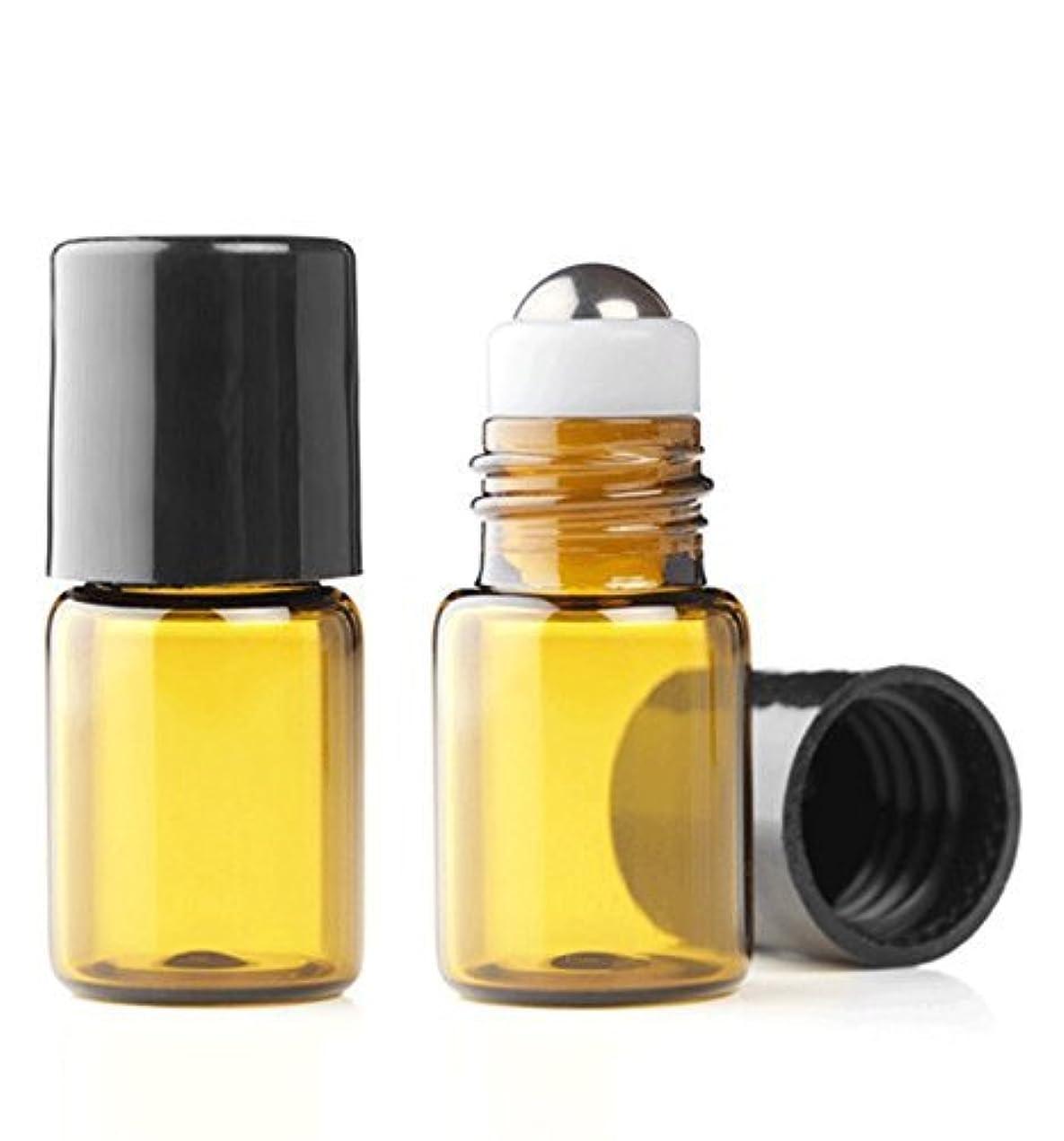 栄養浴室航空便Grand Parfums Empty 2ml Amber Glass Micro Mini Rollon Dram Glass Bottles with Metal Roller Balls - Refillable Aromatherapy Essential Oil Roll On - Bulk - 1/2 Dram Pack of 6 - [並行輸入品]