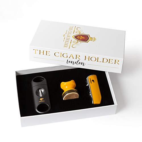 thecigarholder TCHCIGARS Gelbes Zigarrenzubehör 3 Fackel Jet Flame Cigar Feuerzeug mit Lochschneider Zigarrenständer Zigarrenschneider