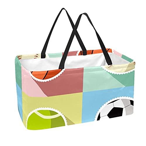 La bolsa de asas reutilizable del ultramarinos, cesta de compras grande, baloncesto del baloncesto de la bola del deporte del bolso del almacenamiento 50L