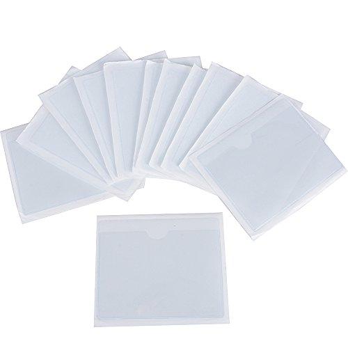 12pcs 10*8cm Pochette Adhésive Transparente pour Coller Ticket de Stationnement Parking Carte Vignette Assurance sur Pare-brise Voiture