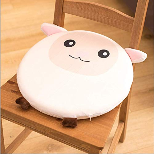 DUIPENGFEI Cute memory foam dining chair cushion bedroom round seat cushion for all seasons, removable and washable, 39 * 39cm, white lamb