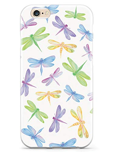 Inspired Cases - 3D Textured iPhone 6 Plus/6s Plus Case - Rubber Bumper Cover - Protective Phone Case for Apple iPhone 6 Plus/6s Plus - Watercolor Dragonflies Pattern - White