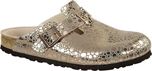 BIRKENSTOCK Boston BF Metallic Stones Damen Clogs&Pantoletten,Frauen Pantoffel,Hausschuh,Shiny,Orig Fußbett,Gold,EU 38S