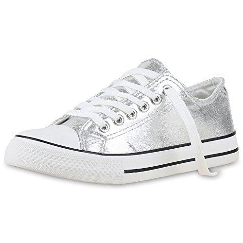 Japado Trendige Unisex Sneakers Low-Cut Modell Basic Freizeit Viele Farben Damen Sneakers Silber Metallic Weiss 37