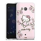 DeinDesign Silikon Hülle kompatibel mit HTC U11 Hülle weiß Handyhülle Hello Kitty Fanartikel Hanami