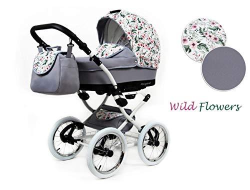 Lux4Kids Retro Kinderwagen 3 in 1 Komplettset mit Autositz Buggy Megaset Marget Wild Flowers 3in1 mit Autositz