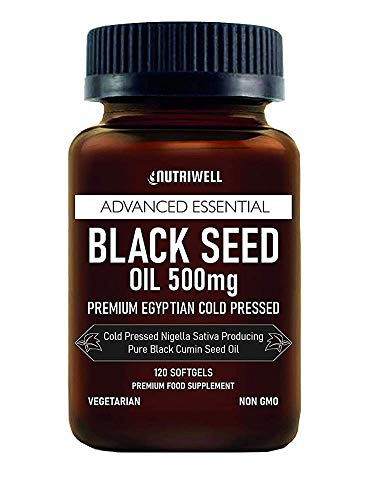 Black Seed Oil Softgel 120 Vegetarian Capsules 500mg, Non-GMO, Made from Cold Pressed Nigella Sativa Producing Pure Black Cumin Seed Oil