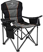 ALPHA CAMP Oversized Camping Folding Chair Heavy Duty Support 450 LBS Oversized Steel Frame Collapsible Padded Arm Chair with Cup Holder Quad Lumbar Back Chair Portable for Outdoor