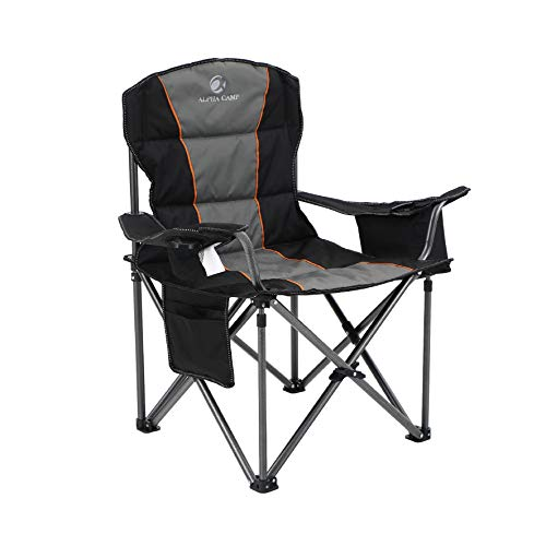 ALPHA CAMP Oversized Camping Folding Chair Heavy Duty Support 450 LBS Oversized Steel Frame Collapsible Padded Arm Chair with Cup Holder Quad Lumbar...