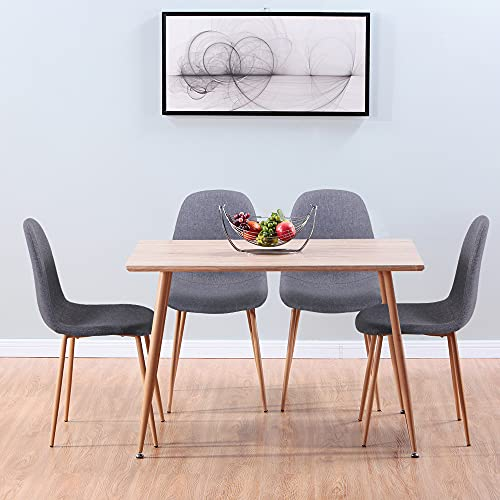 GOLDFAN Dining Table and Chairs Set of 4 Solid Wood Style Rectangular Kitchen Table and Velvet Chairs Dining Room Home Office Set, Grey