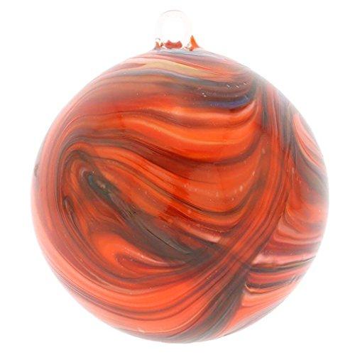 GlassOfVenice Murano Glass Chalcedony Christmas Ornament - Red Swirl