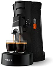Philips Senseo Select ECO CSA240/20 kapsüllü kahve makinesi, kahve sertliği seçimi Plus, hatırlatma fonksiyonu, geri dönüştürülmüş plastik, siyah/benekli