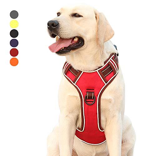 Hundegeschirr für Große Hunde Anti Zug Geschirr No Pull Sicherheitsgeschirr Kleine Mittlere Hunde Brustgeschirr Dog Harness Weich Gepolstert Atmungsaktiv Rot XL
