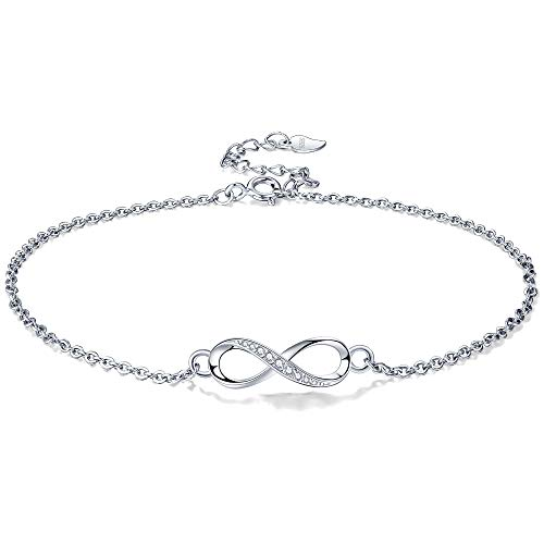 Lydreewam Infinity Ankle Bracelet for Women 925 Sterling Silver Summer Barefoot Beach Anklet with Zirconia, Adjustable 22+4cm
