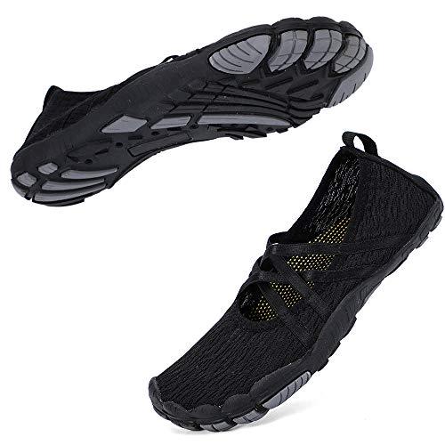 HIITAVE Women Water Shoes Mary Jane Quick Dry Barefoot Aqua Socks for Walking Beach Swim Pool Yoga Black 8-8.5 M US Women
