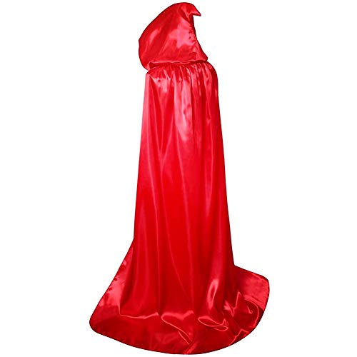 BJ-SHOP Capas de Halloween,Fiesta de Halloween Disfraz Long Black Cloak Unisex Robe Cape para Nios Adultos