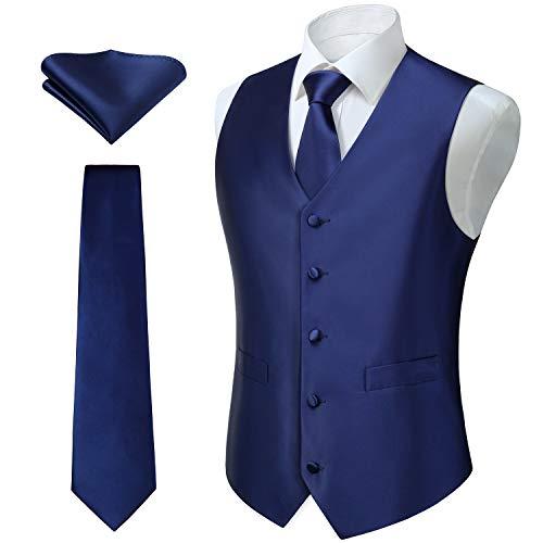 HISDERN 3pc Men's Solid Color Woven Dress Waistcoat & Necktie and Pocket Square Vest Suit Tuxedo Set Navy Blue