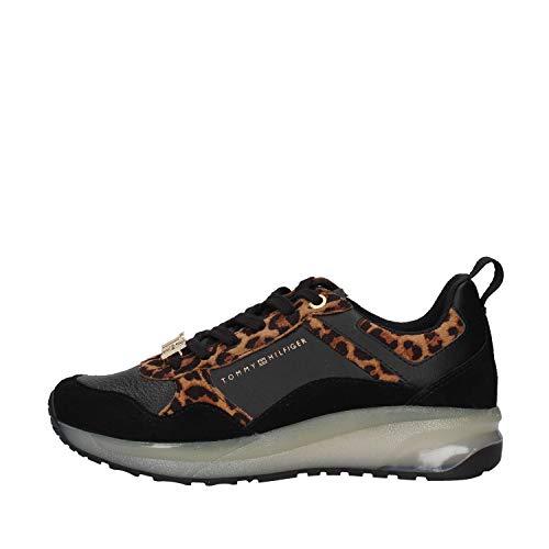 Tommy Hilfiger Damen Leo Print Sporty Sneaker, Schwarz (Leopard 0gp), 38 EU