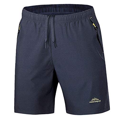 KEFITEVD Wander-Shorts für Herren, leichte Outdoor-Shorts, bequem, Workout-Shorts für Herren, mit Kordelzug, Dunkelgrau
