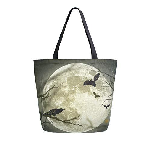 JinDoDo Segeltuchtasche Krähe Fledermaus Mond Halloween Dekorationen Wiederverwendbare Tragetasche Frauen Handtasche für Einkaufen Reisen Strand Schule