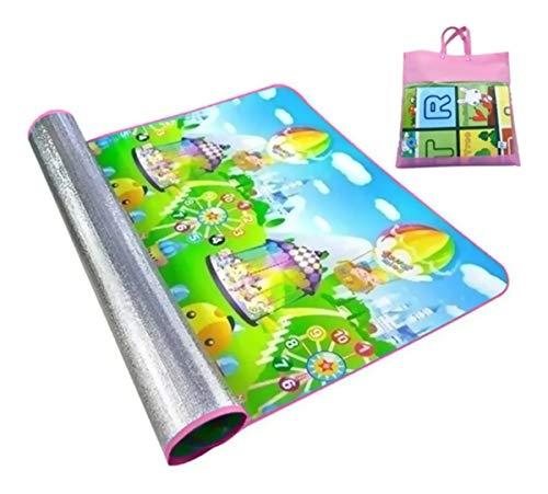 Tapete Atividades Infantil Bolsa 180x120 Colorido Emborrachado e Térmico com bolsa para transporte centro de atividades bebes crianças bolsa rosa