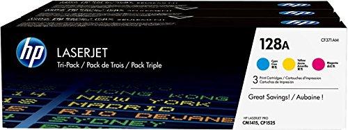 HP 128A CF371AM Confezione da 3 Cartucce Toner Originali, Compatibile con Stampanti LaserJet Pro CM1415, CP1525, CP1525n, CP1525nw, CM1410, CM1415fn, CM1415fnw, Ciano, Giallo, Magenta