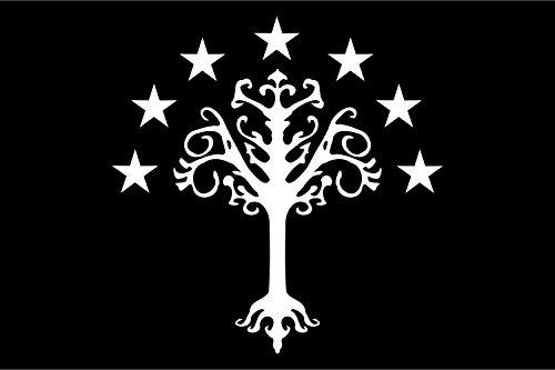 Unbekannt magFlags Tisch-Fahne/Tisch-Flagge: Gondor   Gondor s Flag from J. R. R. Tolkien s Middle-Earth   Gondor, Reino de la Tierra Media de J 15x25cm inkl. Tisch-Ständer