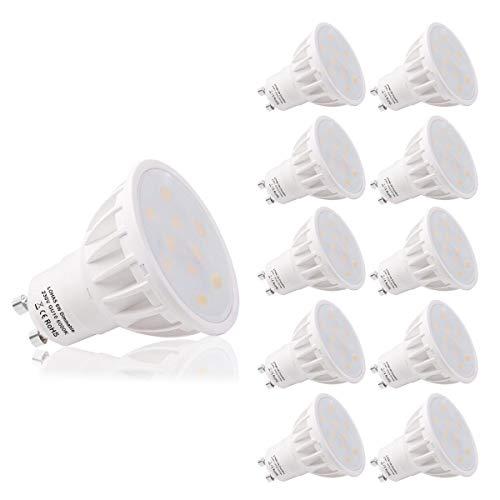 Lampadine LED GU10 dimmerabili, 6 W equivalenti a 50 W, bianco freddo 6000K, 500LM, 240V, angolo di emissione di 120 gradi, controllato da interruttore dimmer LED, confezione da 10 pezzi