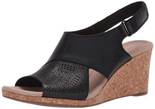 Clarks womens Lafley Joy Wedge Sandal, Black Leather, 8 US