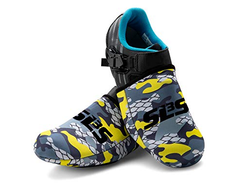 SLS3 Neoprene Cycling Shoe Covers | Shoe Warmers | Mountain Bike Shoe Covers | Windproof Waterproof (Yellow Camouflage, L/XL)