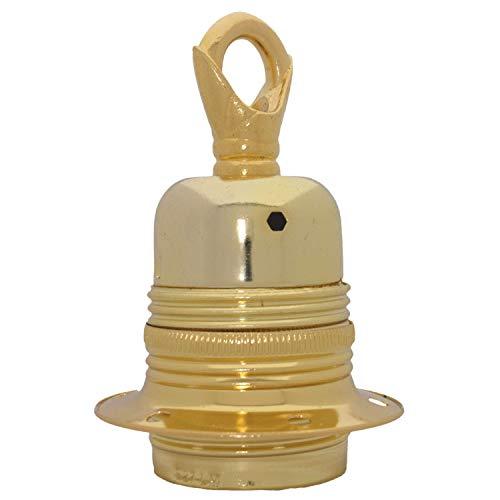 Edison vite (E27) metallo e ceramica messa a terra catena utilizzare portalampada in ottone lucido finitura con anello in metallo