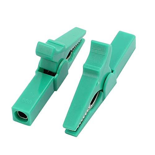 2pcs multímetro 1500V 32A rojo aislado plástico recubierto de metal pinza de cocodrilo verde