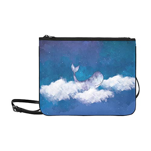 WYYWCY Graphic Digital Paint Whale Swim Benutzerdefinierte hochwertige Nylon Slim Clutch Cross Body Bag Schultertasche