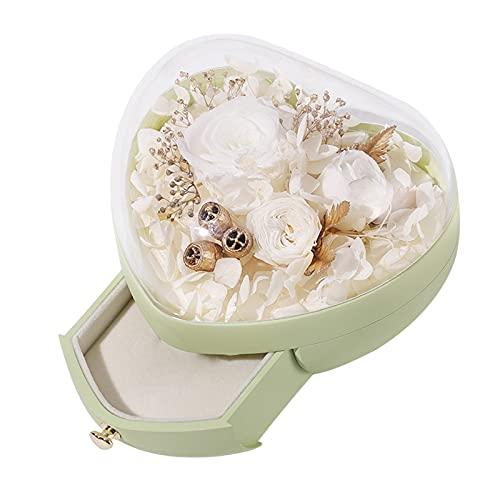 NC Caja de flores preservada Caja organizadora de joyas nunca marchita para el día de San Valentín Aniversario de bodas Regalos románticos para ella con - Verde