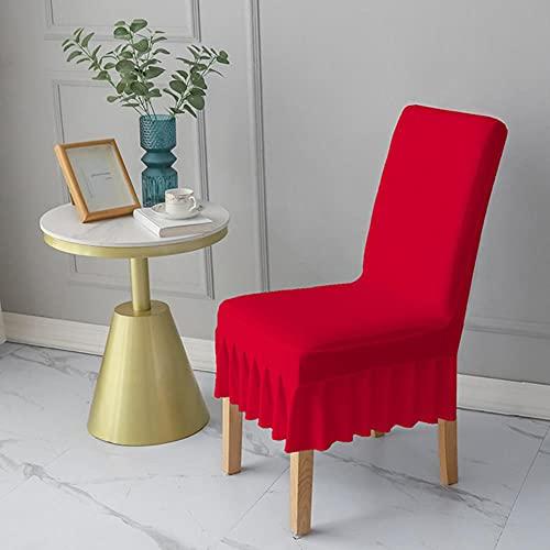 USEFGSBSGGAIUFH Einfarbige Stuhlhülle mit Rock Elastic Dining Chair Schonbezug Abnehmbare staubdichte Hülle für Banketthochzeits-Dunkelrot, USA, 2St