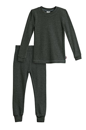 City Threads Big Boys Thermal Underwear Set Perfect for Sensitive Skin SPD Sensory Friendly Base Layer Thermal Wear Cotton Ski Clothing for Kids Comfortable Ultra Soft, Black- 12