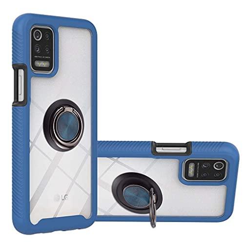 LINER Hülle für LG K42 / LG K52 / LG K62, [mit 360 Grad Ring Ständer] Durchsichtig Stoßfest Handyhülle Robuste Silikon Schutzhülle Schwer PC & Weich Schlank TPU Bumper Hülle Cover - Blau